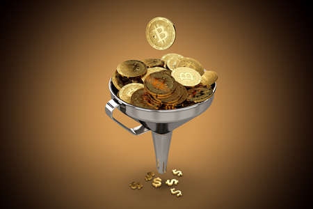 Funnel full of Bitcoins. Exchange to fiat currencies concept. 3D rendering Stock Photo