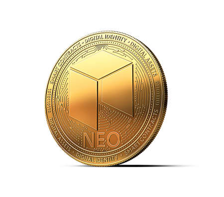 Golden NEO cryptocurrency physical concept coin isolated on white background. 3D rendering Фото со стока