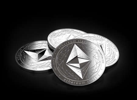 Stack of four silver Ethereum Classic (ETC) coins laying on the black background. 3D rendering