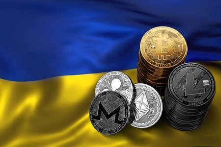 Stack of Cryptocurrencies coins on Ukrainian flag. Situation of Bitcoin and other cryptocurrencies in Ukraine concept. 3D Rendering Stock Photo