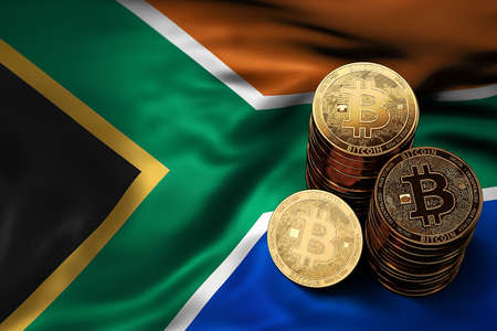 Stack of Bitcoin coins on Southern Africa flag. Situation of Bitcoin and other cryptocurrencies in South Africa concept. 3D Rendering
