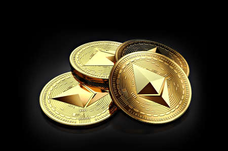 Stack of four golden Ethereum coins laying on the black background. 3D rendering