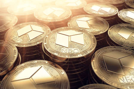 NEO coins in blurry closeup with sunburst from above. NEO coin growth concept. 3D rendering.