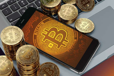 Smartphone with Bitcoin symbol on-screen laying on computer keyboard around Bitcoin piles. Bitcoin price decline on popularity concept. 3D rendering