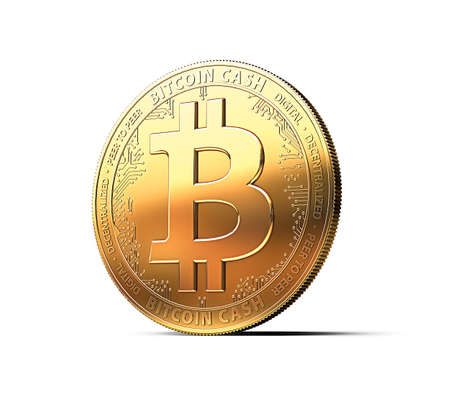 Bitcoin Cash (BCC\BCH) cryptocurrency physical concept coin isolated on white background. 3D rendering