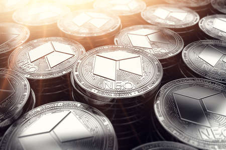 Silver NEO coins in blurry closeup with sunburst from above. NEO coin growth concept. 3D rendering. Фото со стока