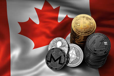 Stack of Bitcoin coins on Canadian flag. Situation of Bitcoin and other cryptocurrencies in Canada concept. 3D Rendering Stock Photo
