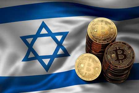 Stack of Bitcoin coins on Israeli flag. Situation of Bitcoin and other cryptocurrencies in Israel concept. 3D Rendering
