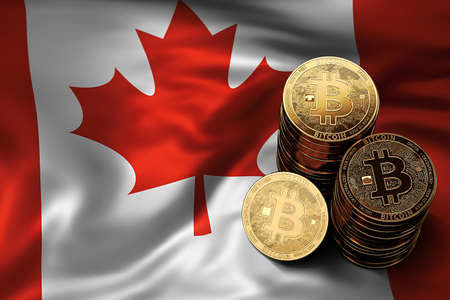 Stack of Bitcoin coins on Canadian flag. Situation of Bitcoin and other cryptocurrencies in Canada concept. 3D Rendering Zdjęcie Seryjne