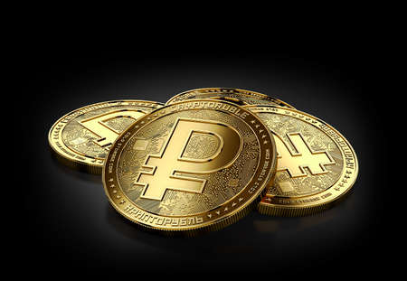Stack of four golden Crypto Rubel coins laying on the black background. 3D rendering Stock Photo