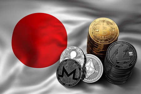 Stack of Bitcoin coins on Japanese flag. Situation of Bitcoin and other cryptocurrencies in Japan concept. 3D Rendering