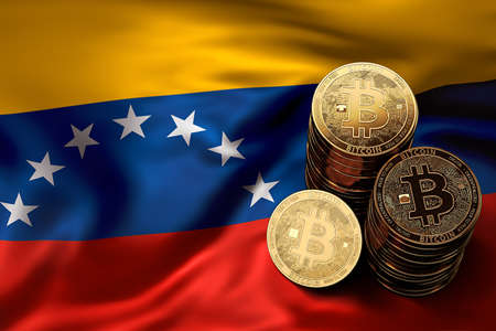 Stack of Bitcoin coins on Venezuelian flag. Situation of Bitcoin and other cryptocurrencies in Venezuela concept. 3D Rendering