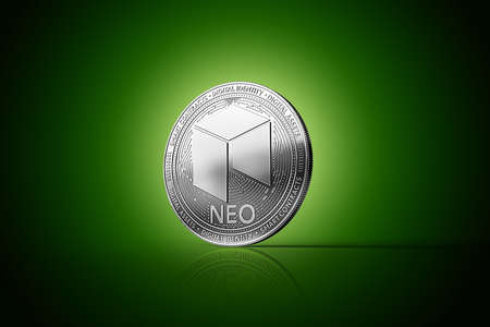 Silver NEO cryptocurrency physical concept coin on gently lit green background. 3D rendering