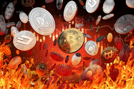 Different cryptocurrency coins are falling into the fire. Decline or market crash concept. 3D rendering Reklamní fotografie - 90252309