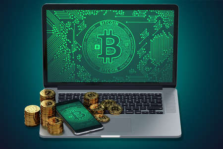Computer and smart phone with Bitcoin symbol on-screen and piles of golden Bitcoin. Bitcoin trading concept. 3D rendering Stock Photo