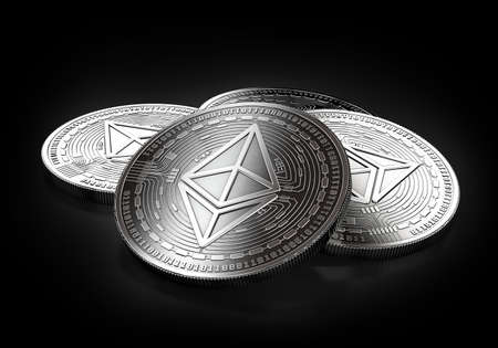 Stack of four silver Ethereum coins laying on the black background. 3D rendering