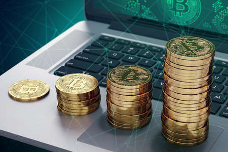 Laptop with Bitcoin logo on-screen and growing piles of golden Bitcoin. Bitcoin growing capitalization concept. 3D rendering