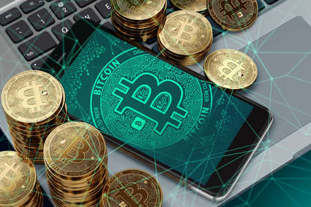 Smartphone with Bitcoin symbol on-screen laying on computer keyboard. Blockchain transfers concept. 3D rendering