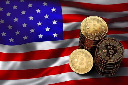 Stack of Bitcoin coins on USA flag. Situation of Bitcoin and other cryptocurrencies in USA concept. 3D Rendering Stock Photo