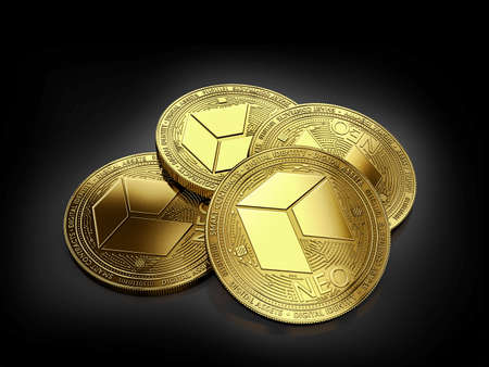 Stack of four golden NEO coins laying on the black background. 3D rendering Standard-Bild