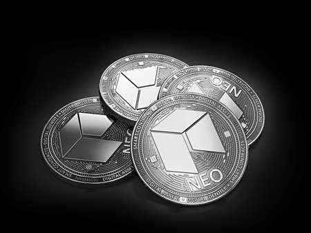 Stack of four silver NEO coins laying on the black background. 3D rendering Фото со стока