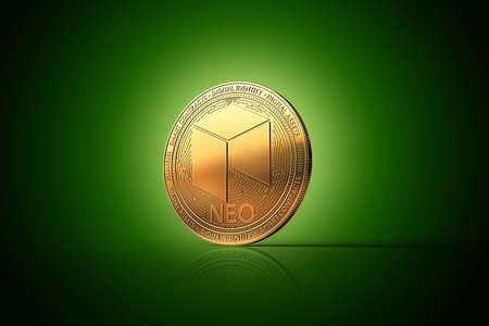 Golden NEO cryptocurrency physical concept coin on gently lit green background. 3D rendering