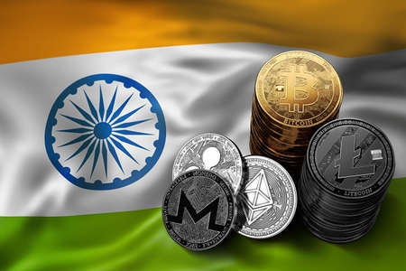 Stack of Bitcoin coins on Indian flag. Situation of Bitcoin and other cryptocurrencies in India concept. 3D Rendering