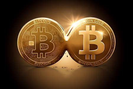 Bitcoin Gold emerging out of Bitcoin as a result of Hard Fork. Bitcoin splitting into two currencies concept. 3D illustration,