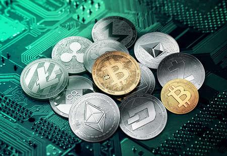 Verschillende cryptocurrencies in een cirkel met een gouden bitcoin in het midden. Verschillende cryptocurrencies concept. 3D illustratie