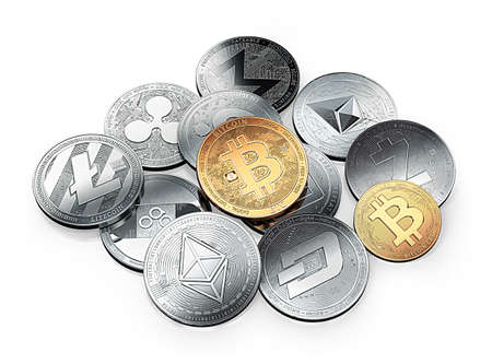 Huge stack of cryptocurrencies with a golden bitcoin on the front. Isolated on white background. 3D illustration Reklamní fotografie - 91609375