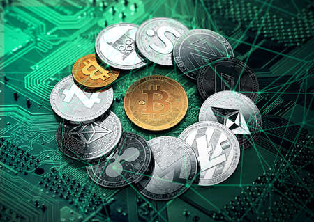 Huge stack of cryptocurrencies with a golden bitcoin in the middle. Bitcoin as most important cryptocurrency concept. 3D illustration Stok Fotoğraf
