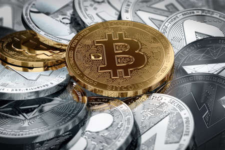 Different cryptocurrencies and a golden bitcoin in the middle in close-up shot. Different cryptocurrencies concept. 3D illustration