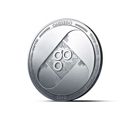 Silver OMISEGO OMG coin isolated on white background. 3D rendering (new virtual money) Stok Fotoğraf