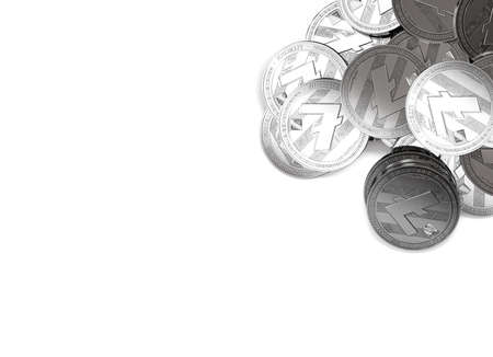 Stack of silver Litecoins in top-right corner isolated on white and copy space for your text. 3D rendering Stock Photo