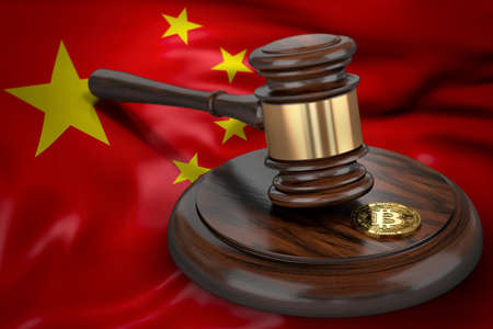 Bitcoin and judge gavel laying on flag of China. Bitcoin legal situation in China concept. 3D rendering