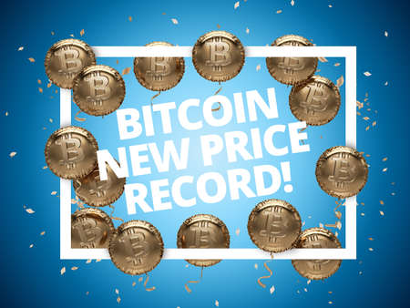 New Bitcoin price record celebration poster. Shiny Balloons with Bitcoin logos around Square Frame. 3D illustration. Stock Photo