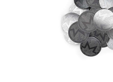 Stack of silver Monero coins in top-right corner isolated on white and copy space for your text. 3D rendering