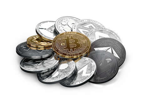 Huge stack of different cryptocurrencies with a golden bitcoin on the front. Isolated on white background. 3D illustration Standard-Bild