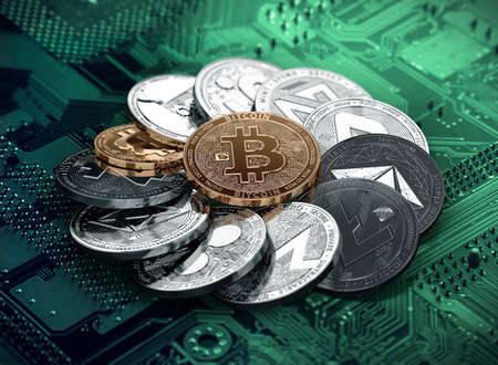 Huge stack of cryptocurrencies in a circle with a golden bitcoin in the middle. Different cryptocurrencies concept. 3D illustration Standard-Bild