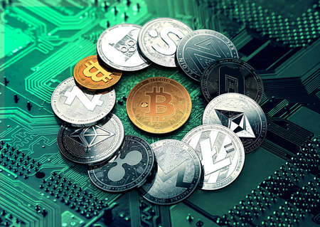 Huge stack of cryptocurrencies with a golden bitcoin in the middle. Bitcoin as most important cryptocurrency concept. 3D illustration Stock Photo