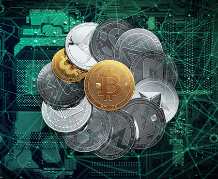Huge stack of cryptocurrencies in a circle with a golden bitcoin in the middle. Cryptocurrencies in blockchain concept. 3D illustration 스톡 콘텐츠