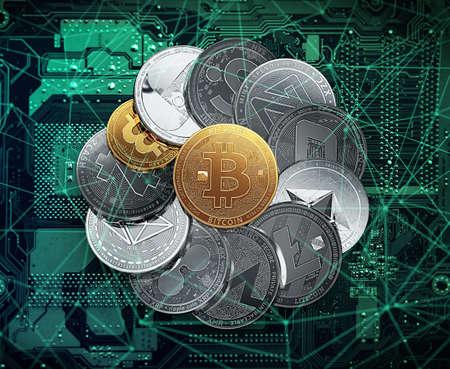 Enorme pila di criptovalute in un cerchio con un bitcoin dorato nel mezzo. Criptovalute nel concetto di blockchain. Illustrazione 3D