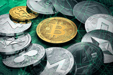 Huge stack of cryptocurrencies in a circle with a golden bitcoin in the middle. Bitcoin as most important cryptocurrency concept. 3D illustration Stok Fotoğraf