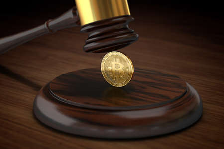 Judge hammer crushing Bitcoin. Bitcoins inauspicious legal situation concept. 3D rendering
