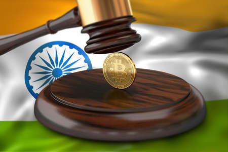 Bitcoin and judge gavel laying on flag of India. Bitcoin legal situation in India concept. 3D rendering Archivio Fotografico