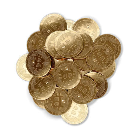 Stack of golden Bitcoins in the middle isolated on white and copy space. 3D rendering