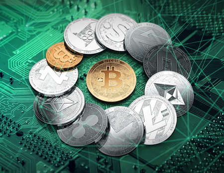 Different cryptocurrencies in a circle with a golden bitcoin in the middle. Different cryptocurrencies concept. 3D illustration Imagens - 91609693