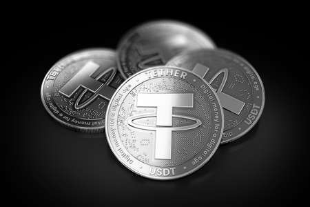 Stack of four silver Tether (USDT) coins laying on the black background. 3D rendering Stock Photo