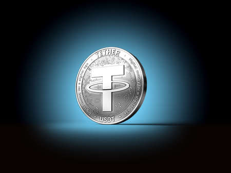 Silver Tether cryptocurrency single coin on dark blue background. Concept coin. 3D rendering