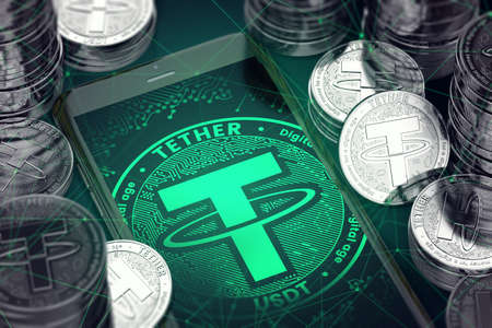 Smartphone with green Tether symbol on-screen among Tether coins. Tether concept coin & virtual wallet. 3D rendering Standard-Bild